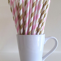 Pink and Gold Paper Straws Light Pink and Gold Striped Party Supplies Party Decor Bar Cart Cake Pop Sticks Graduation
