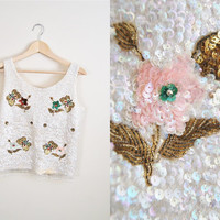 Butterflies over Broadway - vintage 50s Handbeaded flower Butterfly Sequin Top Shirt Vest