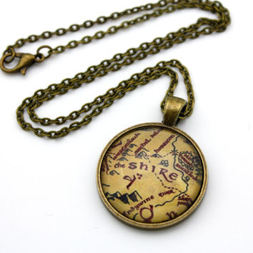 The Shire Map, Lord of the Rings, Hobbit, Tolkien Necklace