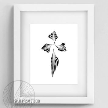 Original Art Print, Downloadable, Print, Digital File, Wall Art, Black and White, Silhouette, Abstract, Modern Art, Graphic Print, Cross
