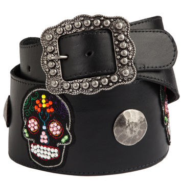 Women's P Diamond Designs Sugar Skull Belt