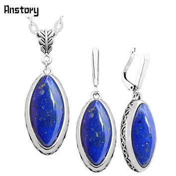 Eye Shape Lapis Lazuli Necklace Earrings Set Vintage Flower Pendant Set For Women Antique Silver Plated Fashion Jewelry