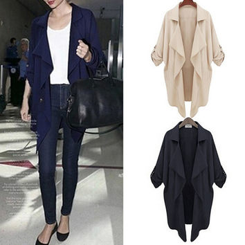 Womens Autumn Winter Lapel Long Coat Jacket