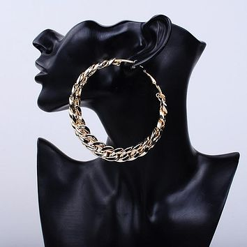 Large chain link hoop earrings