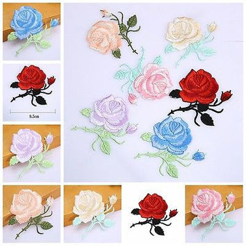 Rose Flower Embroidery Iron On Applique Patch  HUUS