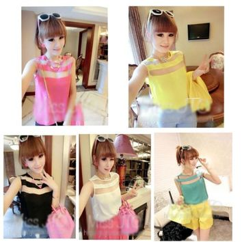 Fashion Korean Women Chiffon Top Sleeveless Translucence Shirt Casual Blouse0513