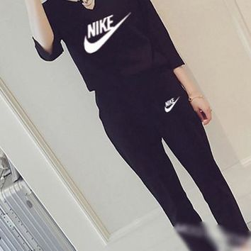 """""""NIKE"""" Women's Leisure  Fashion Letter Printing Long Sleeve Cropped Trousers Couple Two-Piece Casual Wear"""