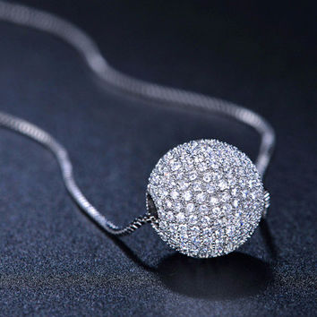 Full CZ Paved 12mm Spinner Ball Necklace