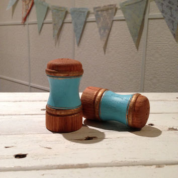 Vintage - Salt & Pepper Shakers - Painted Aqua Blue w/ Gold Accents