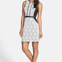 kensie Colorblock Bonded Lace Sheath Dress
