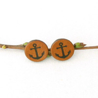 Jewelry - Earrings - Studs - Tobacco Brown Leather Anchor Stud Earrings - Nautical - Surgical Stainless Steel Posts