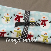 Personalized Snowman Burp Cloths ~ Winter Burp Cloths ~ Christmas Burp Cloths set of 2 or 3