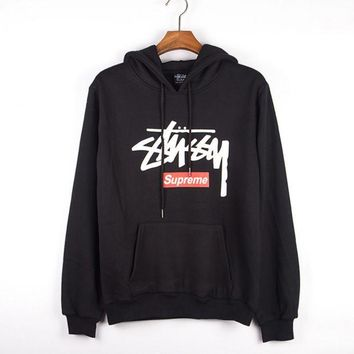 DCCKB62 Stussy Casual Hoodie Long Sleeve Drawstring Top Sweater Sweatshirt