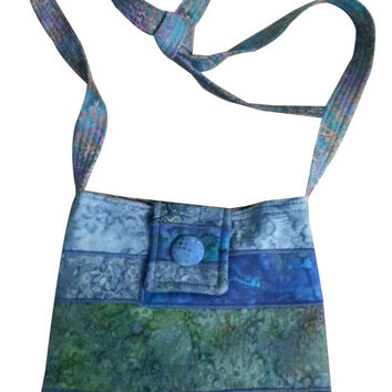 Large Cross Body Hip Purse in Blue Batik