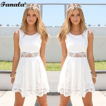 Summer Women Dress Girl Sleeveless Sundress White Lace Dress Patchwork Lady Casual Party Slim Dress Stylish O-Neck 2017 New m22