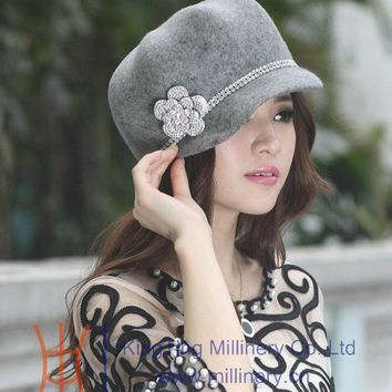 Free Shipping Fashion  Elegant Warm Women Winter Hat Wool Felt Hats Winter Dress Elegant Design Beautiful Two Colors Available
