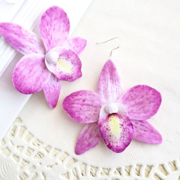 Orchid earrings, orchid jewelry, orchid, earrings, flower jewelry, floral jewelry, botanical jewelry, polymer clay, flower earrings, floral
