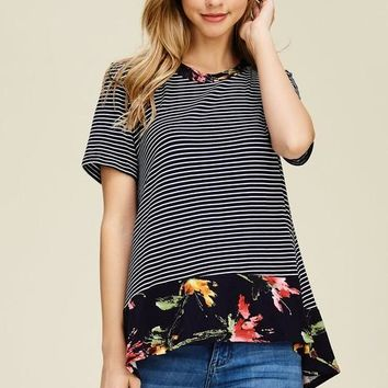 Jodifl short sleeve striped floral top