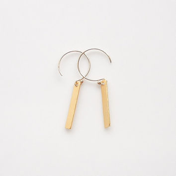 Gold Bar Earrings - Rectangle Bar Jewelry
