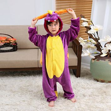 Purple Dinosaur Halloween Cosplay Costumes For Children Winter Kids Unicorn Pajamas Flannel Pijama Infantil Animal Onesuit Pyjama