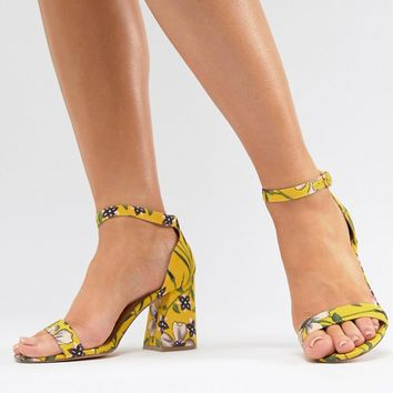 River Island Wide Fit Floral Block Heeled Sandals at asos.com