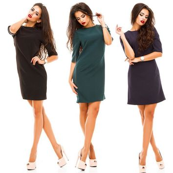 Summer fashion women sheath dress casual o-neck Half sleeved back row of buttons dress bodycon vestidos party dresses plus size