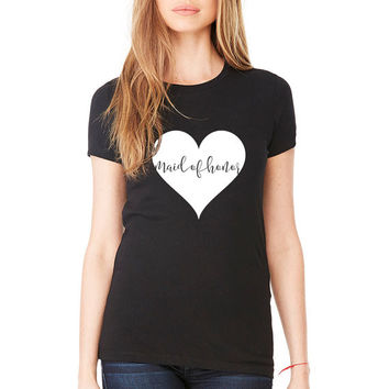 Love Struck - Heart Bridal Bachelorette Party Crew Neck Tee in Black Available in Mrs. Bride Bridesmaid and more