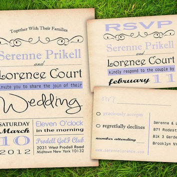 Classic Purple Formal Old Fashioned Customizable Wedding Invitation Card - DIY Printable