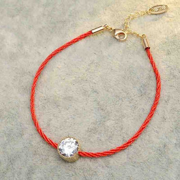 AAA CZ jewelry thin red thread string rope Charm Bracelets for women valentine's day Ocean Star leather bracelet