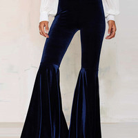 Royal Blue Velvet High Waist Flared Pants