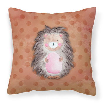 Polkadot Hedgehog Watercolor Fabric Decorative Pillow BB7378PW1818