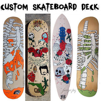 Custom Hand Painted Skateboard Deck Art
