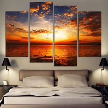 4 Pieces Sunset Sunset Seascape Birds Landscape Modern Home Wall Decor Canvas Picture Art HD Print Painting On Canvas Artworks