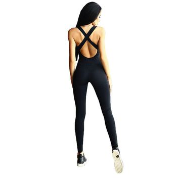 Sexy Women Jumpsuit Long Pants Bandage Playsuit Elasticity Elegant Trousers Workout Fitness Rompers Skinny Bodysuit Overalls