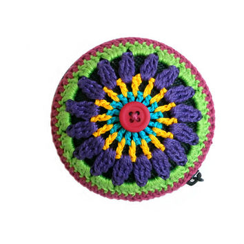 Crochet Mandala Coin Purse - Turquoise, Yellow, Violet, Neon Green, And Magenta, Magenta Button, Black Base