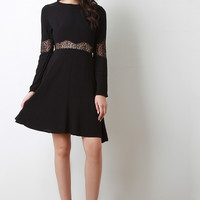 Long Sleeve Lace Inset A Line Dress