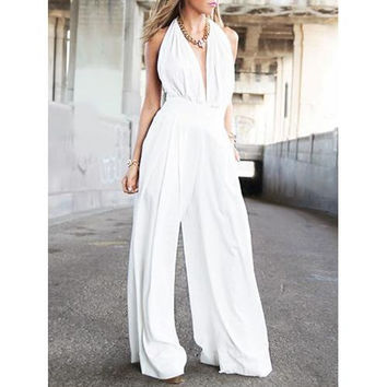White Halter Plunge Neck Ruched Bust Backless Palazzo Jumpsuit
