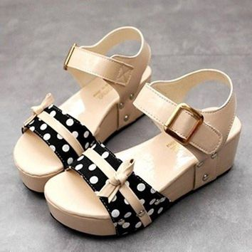 Butterflyknot Ball Dot Buckle Korean Style Hook Loop Peep Toe Platform Sandals