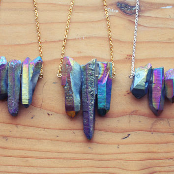 Raw Aura Quartz Rainbow Crystal Spike Necklace  by kissthefuture