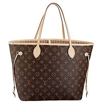 Louis Vuitton Neverfull MM Monogram Canvas Handbag Shoulder Bag Tote Purse G