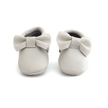Bow Baby Leather Moccasins White Wedding