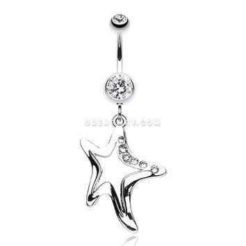 Starfish Dazzle Belly Button Ring (Clear)