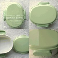 Cute 1 Layer Japanese Bento Box Natural Lunch Time OVAL GREEN