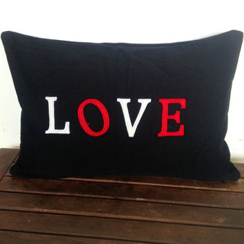 Shabby Chic Pillows, Valentine Pillows, Handmade Love Monogrammed Pillow Cover 12x18 inches black love pillow cover mothers day gift