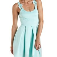 Lt Blue Crochet-Strap & Back Skater Dress by Charlotte Russe