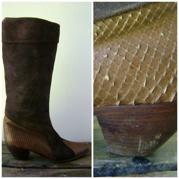 80s Brown Snake Skin Tall Boots Vintage Mauo Frizon Italian Designer Shoes Size 38 US 7 1/2 Hippie Boho Fold Down Pirate Leather Boot 1980s