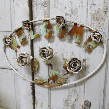 Large toleware rose metal welcome sign shabby chic rusty white wall hanging home decor anita spero