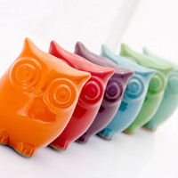 Ceramic Owl decor  - choose your color