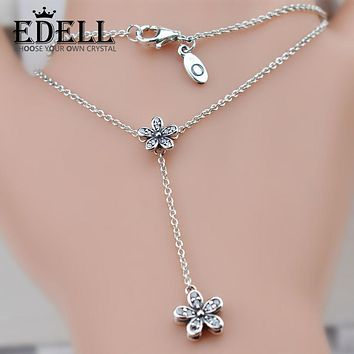 EDELL S925 Sterling Silver Sakura Flower Necklaces & Pendants Cherry Blossoms With Chain Choker Necklace Jewelry Collar Colar
