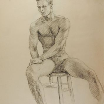 Drawing Seated Male Figure 1950's
